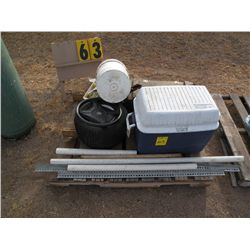 Pallet w/cooler, fittings, prybar, misc