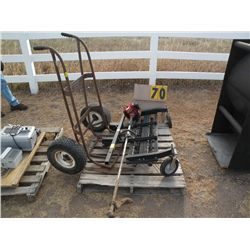 De-thatcher, string trimmer, barrel cart