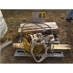 Pallet w/extension cords, log chain, choke cables, lift straps, misc