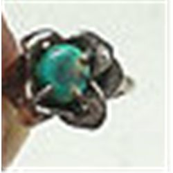 Sterling Silver Vintage Handcrafted Navajo Turquoise Ring