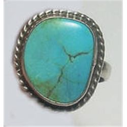 Sterling Silver Vintage Handcrafted Turquoise Ring 7.5