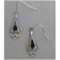 STERLING SILVER & BLACK ONYX INLAY EARRINGS