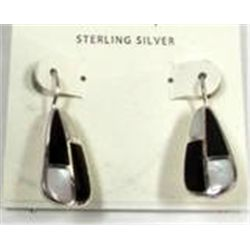 Sterling silver MOP Onyx Inlay Earrings
