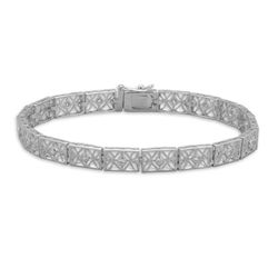 "7"" Rhodium Plated 3mm CZ Filigree Bracelet"