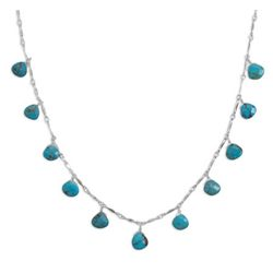 "16"" Necklace with 11 Faceted Turquoise Drops"