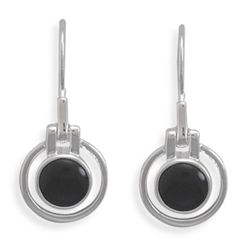 Cut Out Design Round Black Onyx Earrings on French Wire