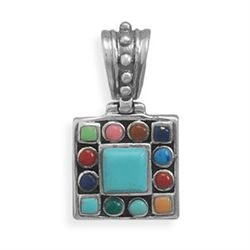Square Turquoise with Multistone Edge Pendant