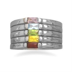Rhodium Plated Stacking Ring with Five Color CZs
