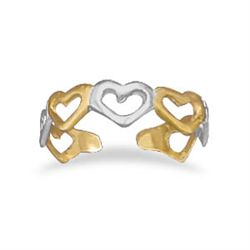 Sterling Silver and 14 Karat Gold Plated Cut Out Heart Toe Ring