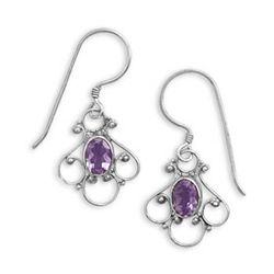 Small Fancy Amethyst Earrings on French Wire
