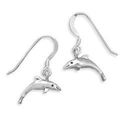 Small Dolphin Earrings on French Wire