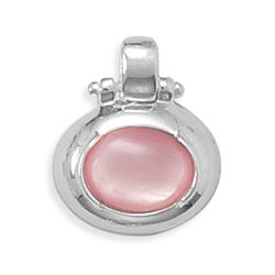 8x10mm Oval Pink Shell Pendant