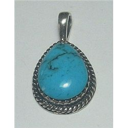 Sterling Silver Vintage Handcrafted Turquoise Pendant