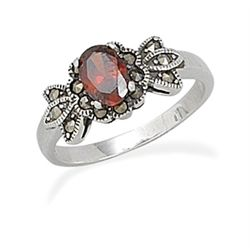 Small Oval Red CZ with Marcasite Ring