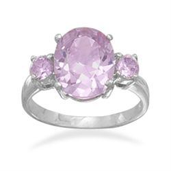 Three Lavender Oval CZ Ring