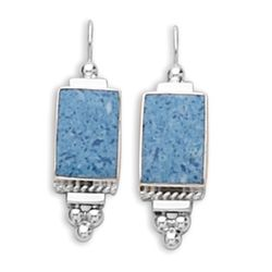 Rectangular Blue Denim Earrings on French Wire with Bead