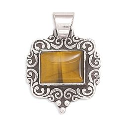 Rectangle Oxidized Tiger's Eye Pendant