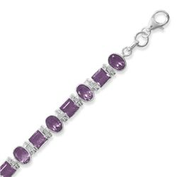 "7""+1""Extension Bracelet with Square and Oval Amethyst"