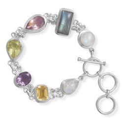 "7.5""+1""Extension Toggle Bracelet Featuring Moonstone, Labrodorite, Lemon Quartz,Amethyst and Citrine"