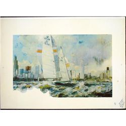 Chicago Boats on Lake Printer Proof Art Print