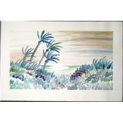 Original Watercolor Painting Tropical Island Landscape