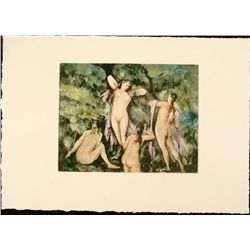 Cezanne Colored Etching Art Print - Four Bathers