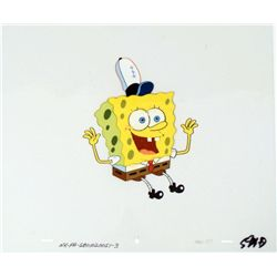 Excited Animation Cel Original SpongeBob Art Hands Up