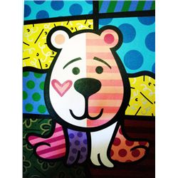 Jozza Original Large Painting On Canvas Pink Bear