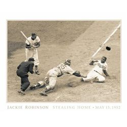 Bettman Archive- Jackie Robinson Stealing Home 1952