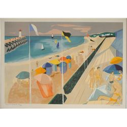 Georges Lambert Signed Art Print -Beach in France