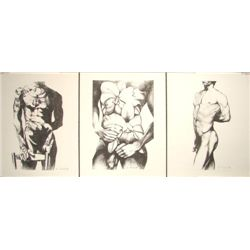 Suite of 3 Male Nude Art Prints Lowell Nesbitt Gay