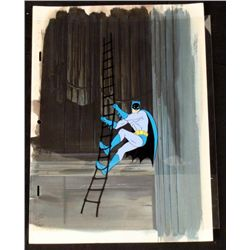 Original Background Animation Cel Batman Climb Rope Art
