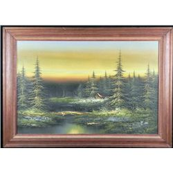 R Kina Original Large Canvas Painting Framed Forest