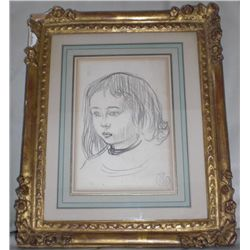 Claude Schuffenecker Original Drawing Bust of Boy Frmd