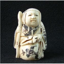 MWF1542I Handcarved Ox Bone Netsuke Figure
