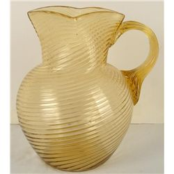 Fenton Glass Amber Ribbed Swirl Pitcher 9""