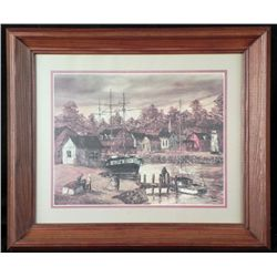 Robert Lebron Nautical Art Print Harbor Framed