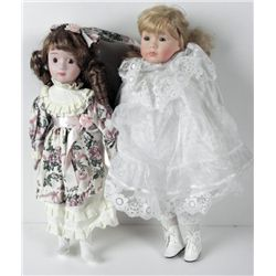 2 Bisque Girl Dolls in Pretty Dresses 16 & 18 In.