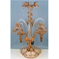 Fenton Large Victorian Peach Epergne w/ Hanging Baskets