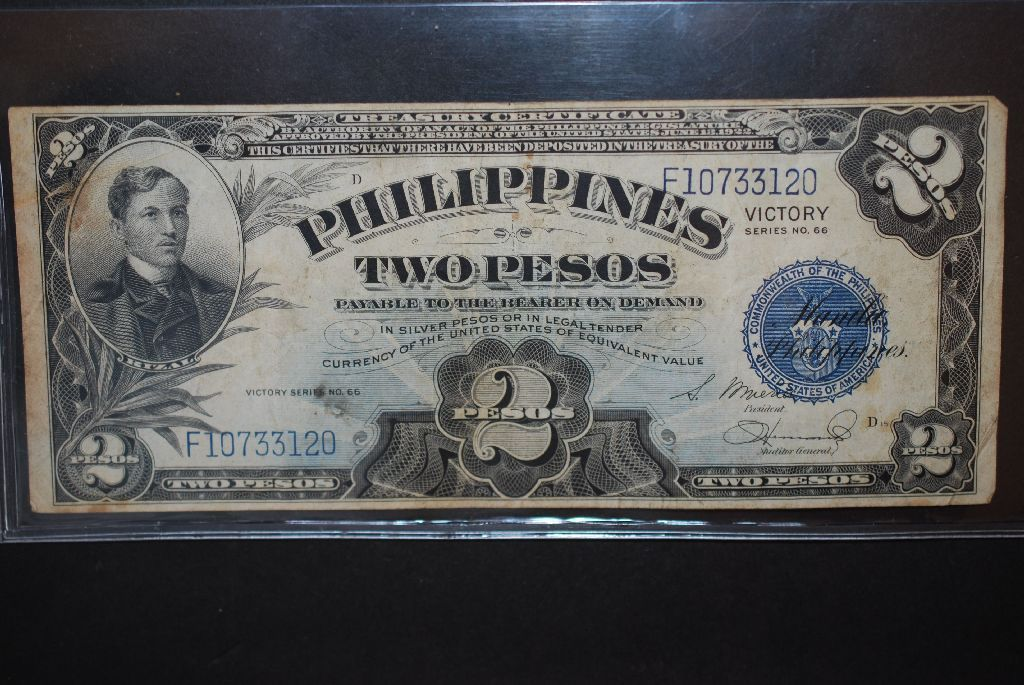 Image 1 1922 Us Philippines Two 2 Pesos Silver Certificate Blue Seal