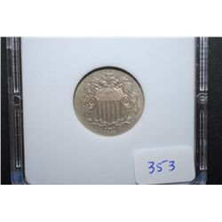 1868 US Shield Nickel; MCPCG Graded AU58; EST. $110-140