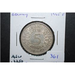 1965-F German 5 Deutsche Mark Foreign Coin; .2250 ASW; EST. $20-30