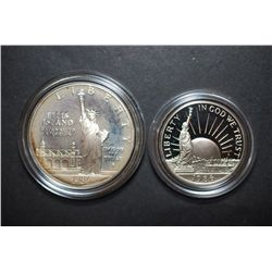 1986-S US Liberty Commemorative Two-Coin Proof Set In Velvet Box; Ellis Island $1 & Nation Of Immigr
