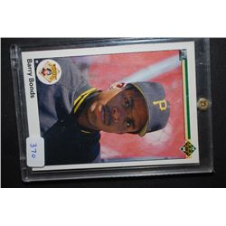 1990 MLB Barry Bonds Pittsburgh Pirates Baseball Trading Card In Display Case; EST. $5-10