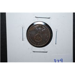 1939-A German 1 Reichspfennig Foreign Coin With Flying Eagle Holding Swatstika; EST. $10-20