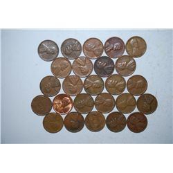 US Lincoln Wheat Back Penny; Various Dates & Conditions; Lot of 25; EST. $2-4