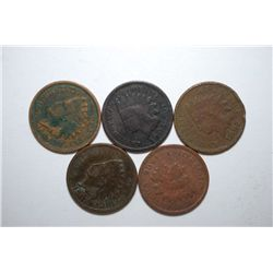 US Indian Head One Cent; Various Dates & Conditions; Lot of 5; EST. $5-10