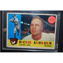 1950s MLB Richie Ashburn Chicago Cubs Baseball Trading Card In Display Case; EST. $5-10