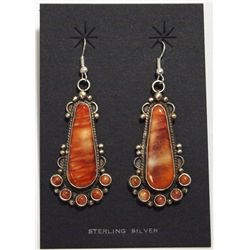 Navajo Spiny Oyster Sterling Silver French Hook Earrings - Dean Brown
