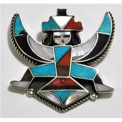 Old Pawn Multi-Stone Knifewing Kachina Sterling Silver Pin - M